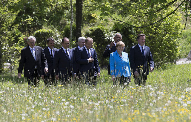 European political leaders with US President and Canadian Prime Minister at 2015 G7 Summit in Germany