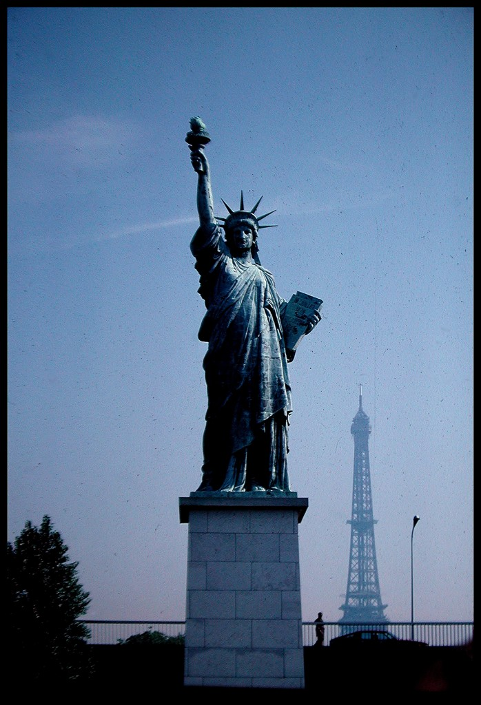 The Statue of Liberty, a symbol of Franco-American friendship, and the Eiffel Tower in Paris