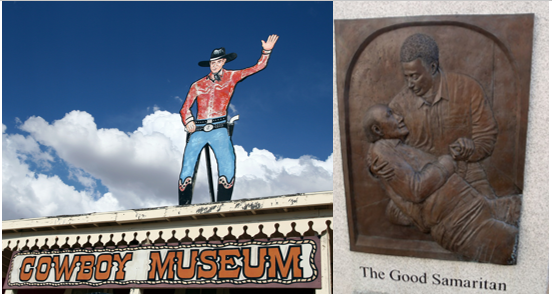 Uber's new narrative: From Cowboys to Good Samaritans (photos: Lookin' for pardners by Karen, CC BY-NC 2.0, left; El buen samaritano by Daniel Lobo, CC BY 2.0, right)